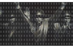 Woher -  Wofür - Wohin III, 100 cm x 190 cm, Acryl und Digitaldruck/Leinwand